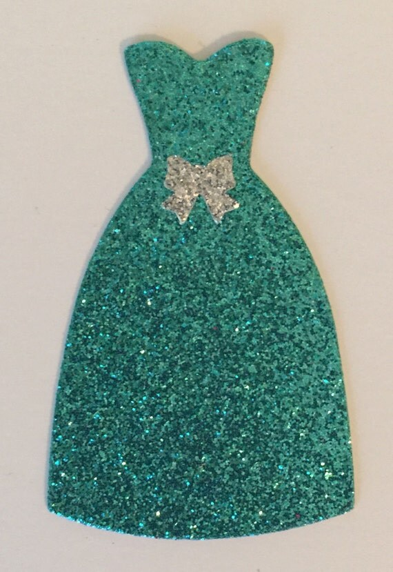 Dress Turquoise Glitter Silver Bow Accent Die Cut Embellishment - Scrapbook Greeting Card Paper Art Craft Mixed Media ATC ACEO Altered Attic