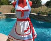 Dorothy inspired Sassy Apron with Eyelet Petticoat, Overlay with Red Shoe Embroidery, Womens Plus Sizes, Girls Aprons, Cosplay, Halloween