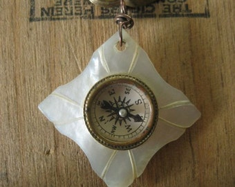 rainforest missionary ~ compass religious medal rhinestone mother of pearl necklace