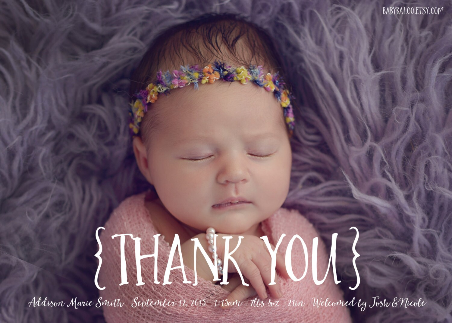 THANK You BIRTH ANNOUNCEMENT boy girl Photo Baby