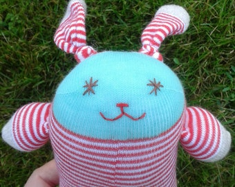 Sock Bunny - Green and red stripes