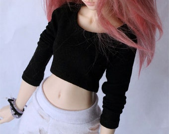 BJD Doll clothes MSD Doll clothes Black long sleeve Crop Top for Minfee MonstroDesigns