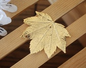 Real Full Moon Maple Leaf Brooch Gold, Maple Leaf Pin, Real Leaf, Gold Leaf, Leaf, BROOCH38