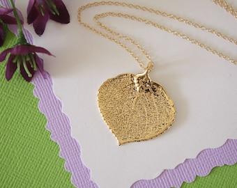 Apsen Leaf Necklace, Real Leaf Necklace, Gold Aspen Leaf, Dipped Leaf, Tree, Nature, Organic, Leaves, Gold Aspen, Gift, Christmas