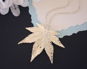 Silver Japanese Maple Leaf Necklace, Real Silver Leaf, Real Maple Leaf Necklace, Maple Leaf, Sterling Silver, LC67