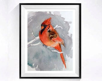 4. Watercolor Paintings of Birds, Cardinal bird ORIGINAL watercolor, Nature painting wilderness male cardinal, Child's playroom, 6 x 6