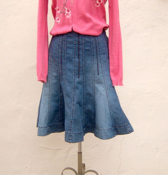 items similar to 90s denim trumpet skirt stretch denim