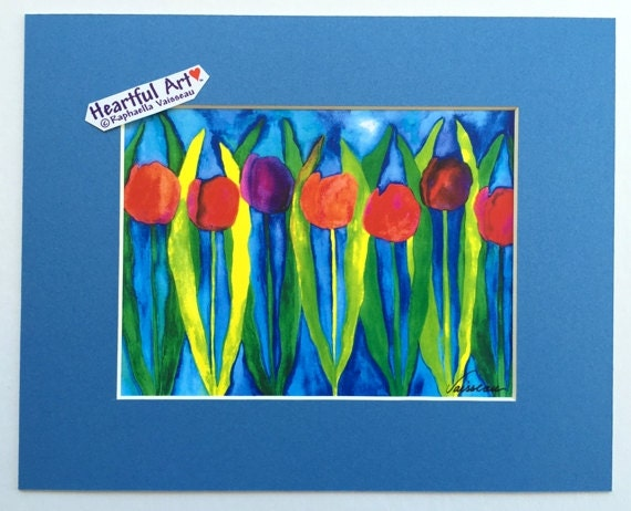 RED TULIPS Turquoise GARDEN Print abstract flower Mother Gift Colorful Home Decor Modern Cheery Kitchen Heartful Art by Raphaella Vaisseau