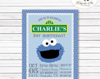 Cookie Monster 1st Birthday Invitation, Cookie Monster Invitation, Cookie Monster Party, Cookie Monster printable invitation, Sesame Street