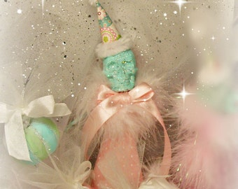 Skeleton tree topper skeleton centerpiece shabby skeleton ooak art doll pink Halloween pastel pink and mint green skeleton toni Kelly doll