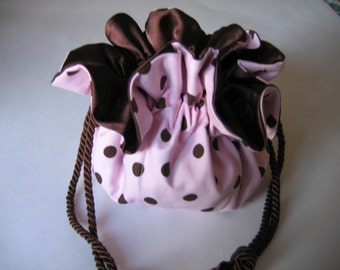 Jewelry Bag Jewelry Pouch Pink Chocolate Brown Polka Dot