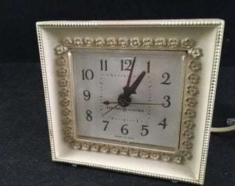 Vintage Creamy White with Gold Trim General Electric Alarm Clock