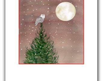 Snowy owl Christmas cards. 10 per boxed set.woodland cards, spruce tree, owl moon cards, Winter Solstice cards.Owl. Birders Christmas cards.