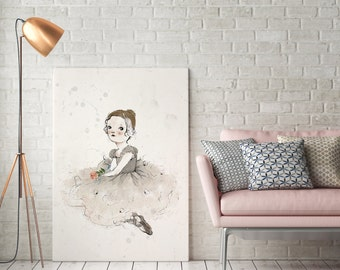 Ballerina, Girls room decor, Art for girls room, girls room art, art for kids room, girls wall decor, wall art for girls, prints for girls