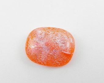 Dichroic Fused Glass Cabochon - 15146 - Orange Silver Dichroic Glass - 18mm x 22mm