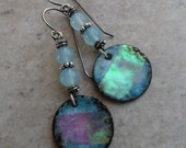 Glow of the Moon ... Enameled Dichroic Copper Charms, AAA Blue Chalcedony and Sterling Wire-Wrapped Rustic, Boho, Beachy Earrings