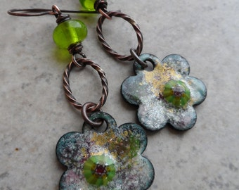 Fresh! ... Artisan-Made Enameled Copper, Lampwork and Copper Wire-Wrapped Rustic, Boho, Floral, Woodland Earrings