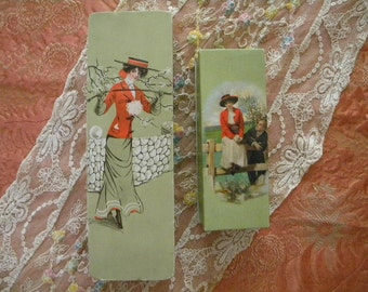 2 Antique Candy Boxes Edwardian Era Cardboard Gibson Girl Equestrian