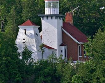 Sherwood Point Light, Lake Michigan, Nautical Photography, Wisconsin Photo, Art Print, Wall Decor, Office Decor, Landscape Photo, Red White