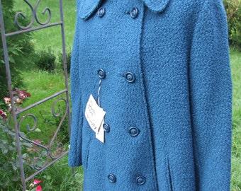 Deadstock Women's Vintage Teal 100% Wool Miss Harwood Overcoat Never Worn w/tags Size 12