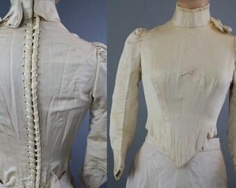 Antique Victorian lace up bridal bodice beaded ivory white corset back gothic wedding