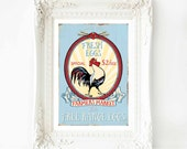 Rooster kitchen print, retro rustic farm house decor in blue and red, A4 giclee