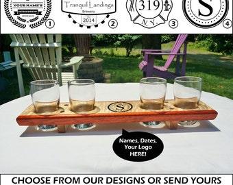 Custom Engraved Beer Flight, Tasting Sampler, Caddy, Personalized Gift, Beer Lover - Groomsman - Bridesmaid - Mancave