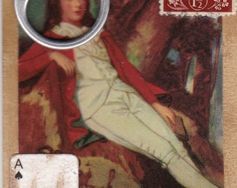 Royalty Becomes Him, ACEO Artist Playing Card, OOAK Famous Painting on Old Record Album Jacket