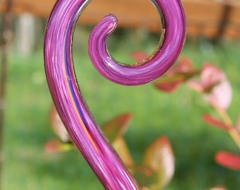 Raspberry Pink Glass Fiddlehead Garden Art Sculpture Outdoor Decoration