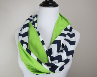 Seahawks Scarf - Seattle Scarf - Navy Chevron and Green Infinity Scarf - Seattle Seahawks Scarf - Team Scarf - Super Bowl Scarf