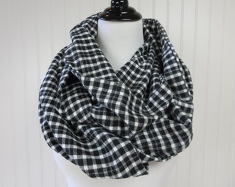Gingham Scarf - Buffalo Plaid Scarf - Chunky Scarf - Buffalo Check Scarf - Black White Scarf - Black Buffalo Plaid - Plaid Chunky Scarf