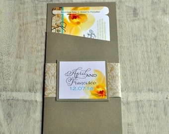 Boarding Pass Invitation or Save the Date Design Fee (Yellow & Turquoise Hawaiian Orchid Map Design)