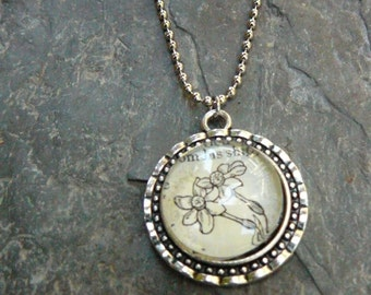Narcissus - vintage dictionary illustration pendant necklace