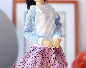 White knit sweater top with blue silver threaded sleeves - Slim MSD doll clothes