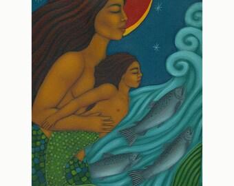 Mermaid Mother & Child Folk Art Print of Midwifery Portrait Painting by Tamara Adams