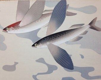 Japanese Painting of Flying Fish