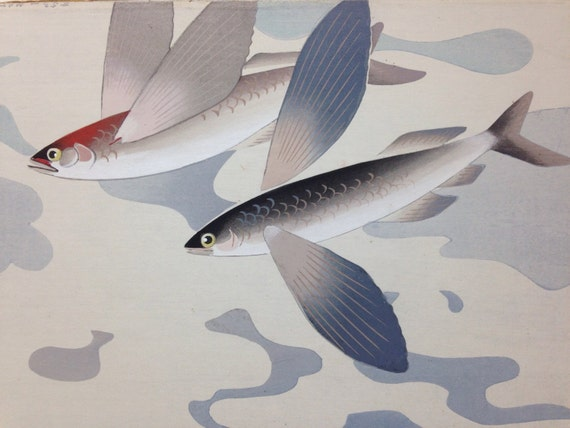 Japanese Watercolor Painting of Flying Fish Signed