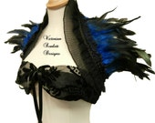 Double Edged Lace Shrug Feather Stole Victorian Gothic Black Blue Vampire Queen Collar Glamour Accessory Handmade Victorian Scarlett Designs