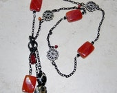 Black Chain Beaded Red Agate Lariat Necklace,Tassel Bead Focal Necklace, Beaded Chain Necklace, Black