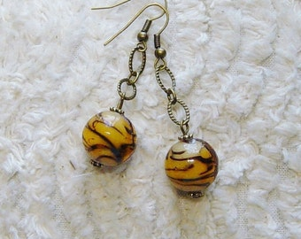 Antique Brass Amber Glass Bead Earrings, Dangle Bead Earrings, Beaded Chain Earrings, Amber Bead Earrings,Antique Brass Earrings