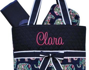Personalized Diaper Bag Navy Blue Elephants Quilted Monogrammed Baby Tote