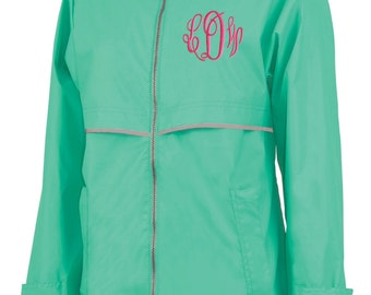 Monogram Rain Jacket Mint, Free Shipping,Charles River Personalized Waterproof Raincoat Monogrammed Embroidered
