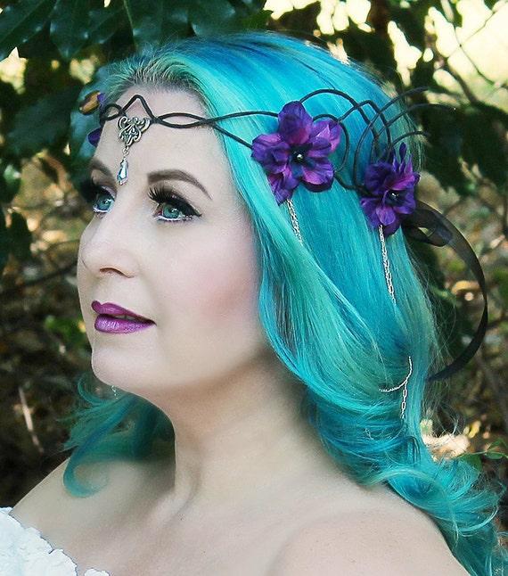 Black Flower Crown Gothic Flower Crown Black Flower: Black And Purple Flower Crown Floral Crown Headpiece Hair