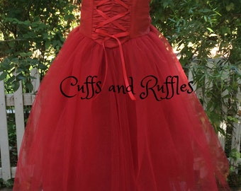 Silk Dupioni Girls dress with tulle skirt
