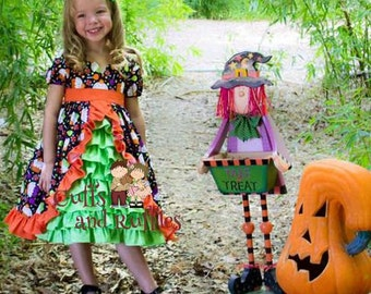 "Halloween ""Emily"" ruffled dress with ruffled front panel."