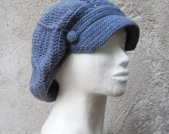 Crochet hat,newsboy hat,crochet slouchy beret,brimmed hat,blue,gift for her,slouchy hat,