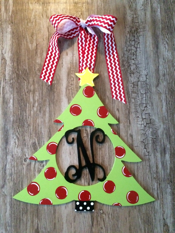 Christmas Tree Wood Monogram Door Decoration Holiday Wreath