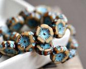 Love Mia - Czech Glass Beads, Opaque Beige, Turquoise Picasso, Hawaiian Flowers 12mm - Pc 6