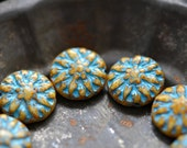 Full Bloom - Premium Czech Glass Beads, Opaque Beige Picasso, Turquoise Wash, Dahlia Flowers 14mm - Pc6