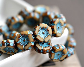 Love Mia - Czech Glass Beads, Opaque Beige, Turquoise Picasso, Hawaiian Flowers 12mm - Pc 6